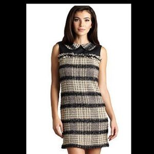 Tweed & Faux Leather Sleeveless Dress By Muse SZ 4